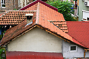 Bulgaria, Plovdiv, red tiled rooftops in the historic Old Town