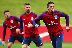 England's Chris Smalling, Gary Cahill and Aaron Cresswell - Mandatory by-line: Matt McNulty/JMP - 29/08/2017 - FOOTBALL - St George's Park National Football Centre - Burton-upon-Trent, England - England Training and Press Conference