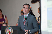 Los Angeles Mayor Eric Garcetti. The US Army Corps of Engineers conducted a public presentation and hearing of the Los Angeles River Ecosystem Restoration Integrated Feasibility Report on October 17th to discuss five proposed plans for ecosystem restoration and passive recreation of the Los Angeles River, L.A. River Center & Gardens, California, USA