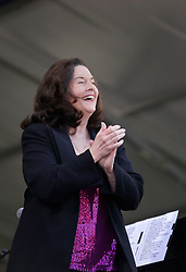 02 May 2015. New Orleans, Louisiana.<br /> The New Orleans Jazz and Heritage Festival. <br /> Linda Gail Lewis, sister of music legend Jerry Lee Lewis warms up the crowd on the Acura stage.<br /> Photo; Charlie Varley/varleypix.com