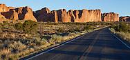 Rock walls along the road through Arches National Park, Utah, USA
