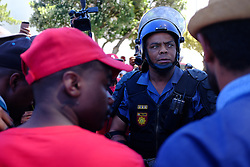 Students and supporters march to parliament in protest against higher education fees in South Africa on the 26th October 2016.  The students are protesting against the fees for higher education.  This protest is part of the #FeesMustFall campaign.<br /> <br /> Photo by Ron Gaunt/ RealTime Images