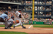 July 2, 2006; Pittsburgh, Pennsylvania, USA;      Jason Bay of the Pittsburgh Pirates connects for a double in the ninth inning off Detroit reliever Todd Jones at PNC Park.  The Tigers beat the Pirates 9-8.