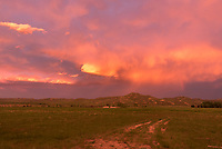 After the mini supercell died it led to a very vibrant sunset near Ucross. It's always challenging capturing scenes like this, because the pictures almost look oversaturated. But it really was this colorful.