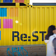 Shipping containers at Re:start Mall in Christchurch