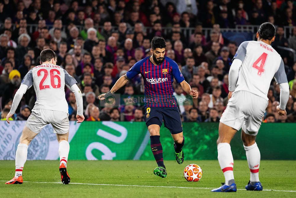 BARCELONA, May 2, 2019  FC Barcelona's Luis Suarez (C) competes during the UEFA Champions League semifinal first leg soccer match between FC Barcelona and Liverpool in Barcelona, Spain, on May 1, 2019. Barcelona won 3-0. (Credit Image: © Joan Gosa/Xinhua via ZUMA Wire)