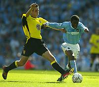 Photo Aidan Ellis.<br />Manchester City v Aston Villa.<br />FA Barclaycard Premiership.<br />14/09/2003.<br />City's Shaun Wright Phillips and Villa's Peter Whittingham