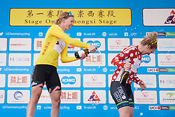 Lorena Wiebes (NED) shares her champagne with Nina Kessler (NED) at Tour of Chongming Island 2019 - Stage 1, a 102.7 km road race on Chongming Island, China on May 9, 2019. Photo by Sean Robinson/velofocus.com