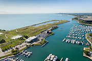 Aerial drone image of Northerly Island and Burnham Harbor in Chicago. Photo by Mark Black