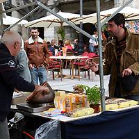Europe, Spain, Girona. Street vendor of Girona.