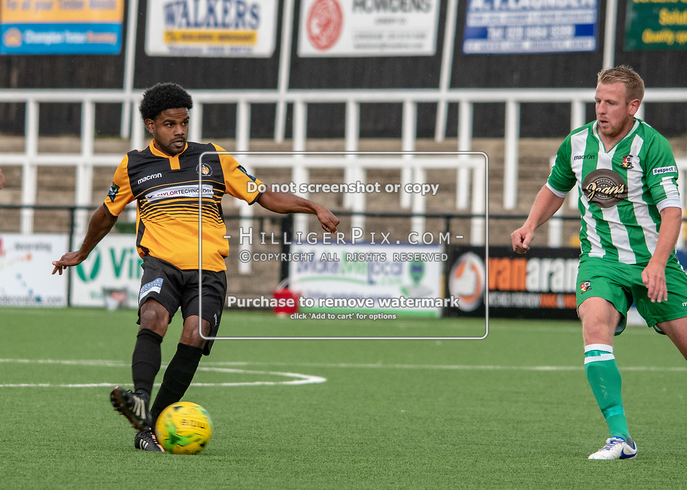 BROMLEY, UK - AUGUST 25: <br /> Bradley Pritchard (Cray Wanderers) passes the ball forward during the FA Cup Preliminary Round match between Cray Wanderers and Rusthall at Hayes Lane on August 25, 2018 in Bromley, UK. (Photo: Jon Hilliger / Cray Wanderers)