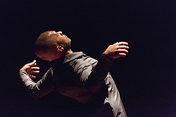 © Licensed to London News Pictures. 03/11/2014. London, England. Pictured: Akram Khan. UK Premiere of TOROBAKA with Akram Khan & Israel Galván;  performances from 3 to 8 November 2014 at Sadler's Wells Theatre. TOROBAKA takes its name from a Maori-inspired phonetic poem by Tristan Tzara. The bull (toro) and the cow (vaca) are sacred animals in the dancers' two traditions and TOROBAKA brings together kathak with flamenco to create a performance that is new, distinctive and that defies classification. Photo credit: Bettina Strenske/LNP