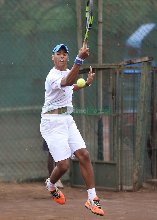 Amine Ahouda of Morocco returns a shot to Denis Indondo of Congo during their 14th African Nations Cup (CAN) 2016 mens Semi Finals at Nairobi Club on November 10, 2016. Indondo won 6-3,6-3. Photo/Fredrick Onyango/www.pic-centre.com (KEN)
