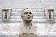 Bust of Franklin Delano Roosevelt outside the Franklin D. Roosevelt Presidential Library and Museum, in Hyde Park, New York.