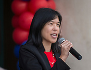 Houston ISD Trustee Anne Sung comments during a groundbreaking ceremony at Lamar High School, March 30, 2017.