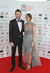 LIVERPOOL, ENGLAND - Thursday, May 12, 2016: Liverpool presenters Claire Rourke and John Fennel arrives on the red carpet for the Liverpool FC Players' Awards Dinner 2016 at the Liverpool Arena. (Pic by David Rawcliffe/Propaganda)