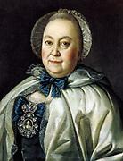 Portrait of Mariya Andreevna Rumyanceva', 1764. Oil on canvas. Alexei Petrovich Antropov (1716-1795) Russian painter.  Head-and-shoulders Frontal Female Jewel Gem Diamond Cap Cape Bonnet Ribbon Rouge