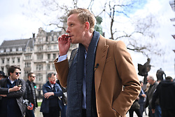 © Licensed to London News Pictures. 07/04/2021. London, UK. Actor and The Reclaim Party leader LAURENCE FOX unveils his manifesto for the London Mayoral election  by the statue of Winston Churchill in Parliament Square. Photo credit: Ray Tang/LNP