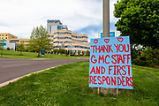 A sign at the entrance to Geisinger Medical Center in Danville, PA thanks hosptal staff and first respoders.
