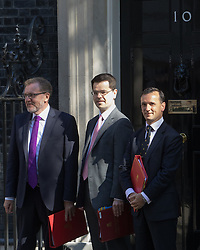 Downing Street, London, July 19th 2016. Scotland Secretary David Mundell, Northern Ireland Secretary James Brokenshire and Welsh Secretary Alun Cairns arrive at the first full cabinet meeting since Prime Minister Theresa May took office.