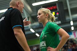 16-10-2013 VOLLEYBAL: USC MUENSTER - VOLLEYSTARS THUERINGEN: MUENSTER<br /> Axel Buering (Trainer / Coach USC Muenster), Tess von Piekartz (#4 USC Muenster)<br /> ***NETHERLANDS ONLY***<br /> ©2013-FotoHoogendoorn.nl