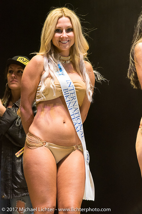 Miss Buffalo Chip contest on the Buffalo Chips main stage during the annual Sturgis Black Hills Motorcycle Rally. Sturgis, SD. USA. Sunday night / Monday morning August 8, 2017. Photography ©2017 Michael Lichter.