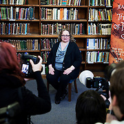 The writer Jean M.Auel. Author of the Earth Children series, a set of 6 books, the latest to be published March 29 2011. Her first book in the series is called The Clan of the Cave bear and her last book is to be called The Land of Painted Caves. Here she is photographed in the Science Library at the Natural History Museum in London.