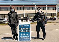 "Subaru of New England in Norwood MA hosted a ""Touchless Turkey Drop"" on May 13, 2020, when they gave out 500 frozen turkeys donated by the company as a part of the Feed Norwood effort during the COVID-19 pandemic."
