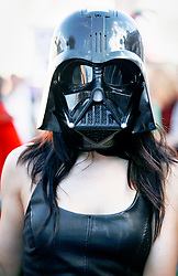 08 Feb 2015. New Orleans, Louisiana.<br /> Mardi Gras. Darth Vader. The Mystic Krewe of Barkus takes to the streets of the French Quarter with the theme 'Bark Wars: Return of the K-9.' Barkus is the only officially licensed Mardi Gras krewe by and for canines. <br /> Photo; Charlie Varley/varleypix.com