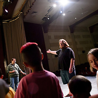 051414       Cable Hoover<br /> <br /> Instructor Brendan Moore explains the next game during an improv class at El Morro Theatre Wednesday.