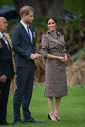 The Duke and Duchess of Sussex at an official welcome ceremony at Government House in Wellington, on the first day of the royal couple's tour of New Zealand.