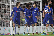 Marcos Alonso, Willian Borges, Gary Cahill and Davide Zappacosta of Chelsea celebrate with Willian of Chelsea © after he scores his teams 4th goal from a penalty .<br /> Premier league match, Chelsea v Stoke city at Stamford Bridge in London on Saturday 30th December 2017.<br /> pic by Kieran Clarke, Andrew Orchard sports photography.