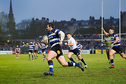 Nathan Charles of Bath Rugby runs in a try in the second half - Mandatory byline: Patrick Khachfe/JMP - 07966 386802 - 27/01/2018 - RUGBY UNION - The Recreation Ground - Bath, England - Bath Rugby v Newcastle Falcons - Anglo-Welsh Cup
