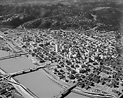 "Ackroyd 16605-10. ""City of Portland. Aerials. February 20, 1970"" (Downtown Portand & Willamette River looking south-west.)"