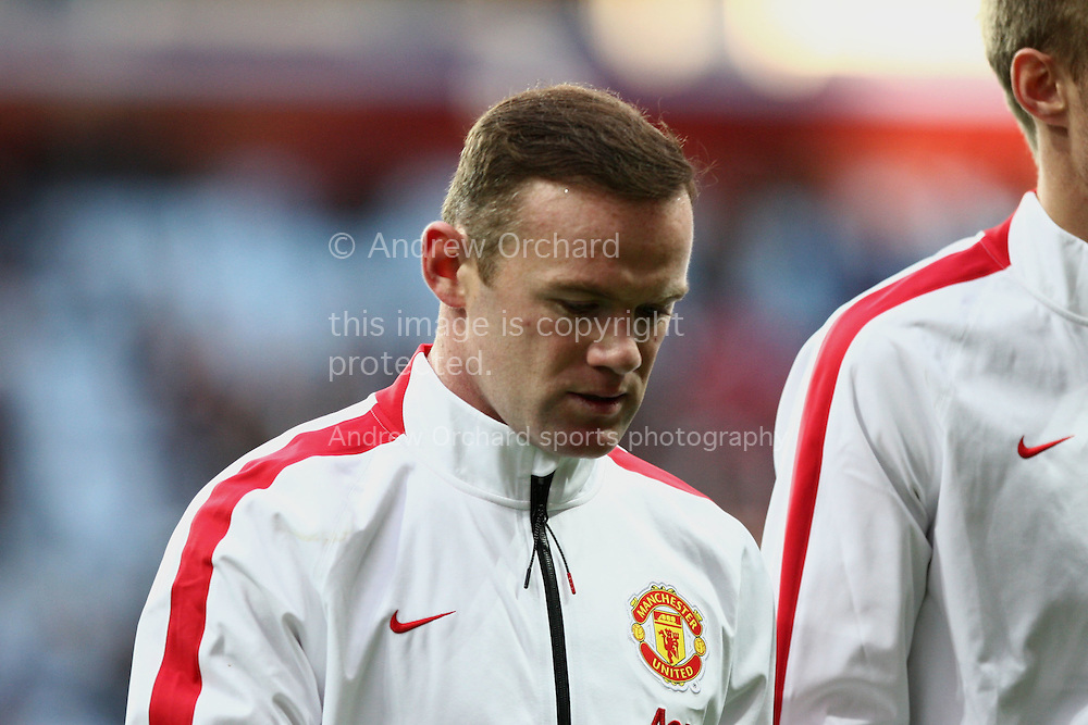 Wayne Rooney of Manchester United leaves the field after a pre-match warm up. Barclays Premier league match, Aston Villa v Manchester Utd at Villa Park in Birmingham on Saturday 20th December 2014<br /> pic by Mark Hawkins, Andrew Orchard sports photography.