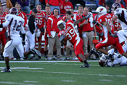 18 October 2008: Walter Mendenhall stumbles forward for more yardage after being tripped up by the Bears defense in a game which the Missouri State Bears came from behind to beat the Illinois State Redbirds 34-28 in front of 13,292 fans at Hancock Stadium on Illinois State Universities campus in Normal Illinois