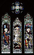 Stained glass window war memorial church of Saint Peter, Milton Lilbourne, by Jones and Willis 1919, Saint Peter, Jesus Christ, Saint George
