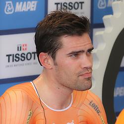 24-09-2014: Wielrennen: WK tijdrijden Elite mannen: Ponferrada<br /> WIELRENNEN PONFERRADA SPAIN TIME TRAIL MEN<br /> Dumoulin weet het, een medaille is binnen