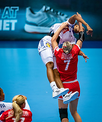 Estelle Nze Minko of France, Daria Dmitrieva of Russia in action during the Women's EHF Euro 2020 match between France and Russia at Jyske Bank BOXEN on december 11, 2020 in Kolding, Denmark (Photo by RHF Agency/Ronald Hoogendoorn)