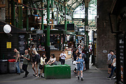 Borough Market in London, England, United Kingdom. Borough Market is a retail food market and farmers market in Southwark. It is one of the largest and oldest food markets in London, with a market on the site dating back to at least the 12th century. A farmers market is a physical retail marketplace intended to sell foods directly by farmers to consumers. Farmers markets may be indoors or outdoors and typically consist of booths, tables or stands where farmers sell fruits, vegetables, meats, cheeses, and sometimes prepared foods and beverages.
