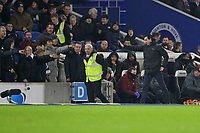 Football - 2018 / 2019 Premier League - Brighton and Hove Albion vs. Arsenal<br /> <br /> The Brighton fans point and shout after Arsenal Head Coach Unai Emery kicked a water bottle into the crowd at The Amex Stadium Brighton <br /> <br /> COLORSPORT/SHAUN BOGGUST
