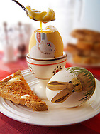 Decorated festive Easter eggs being eaten for breakfast