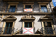 Traditional 3 star Pampinot tourist hotel in old town Hondarribia, in Gipuzkoa, Basque Country, Spain