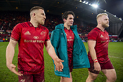 December 30, 2018 - Limerick, Ireland - Andrew Conway, Joey Carbery and Jeremy Loughman of Munster during the Guinness PRO14 match between Munster Rugby and Leinster Rugby at Thomond Park in Limerick, Ireland on December 29, 2018  (Credit Image: © Andrew Surma/NurPhoto via ZUMA Press)