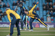 James Weighell (Durham CCC) bowling during the Royal London 1 Day Cup match between Yorkshire County Cricket Club and Durham County Cricket Club at Headingley Stadium, Headingley, United Kingdom on 3 May 2017. Photo by Mark P Doherty.