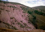 Terra Rossa laterite red tropical soil, gullies on  hillside, location not known, Brazil 1962
