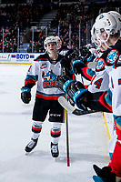 KELOWNA, BC - FEBRUARY 15: Pavel Novak #11 of the Kelowna Rockets fist bumps the bench to celebrate a goal against the Red Deer Rebels at Prospera Place on February 15, 2020 in Kelowna, Canada. (Photo by Marissa Baecker/Shoot the Breeze)