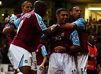 Photo: Olly Greenwood.<br />West Ham United v Blackburn Rovers. The Barclays Premiership. 29/10/2006. West Ham's Hayden Mullins celebrates scoring with his team mates