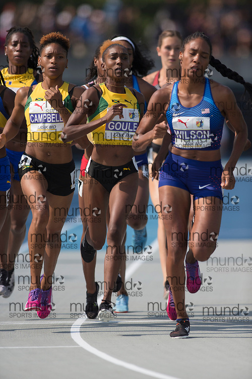 Toronto, ON -- 11 August 2018: Natoya Goule (Jamaica), 800m final at the 2018 North America, Central America, and Caribbean Athletics Association (NACAC) Track and Field Championships held at Varsity Stadium, Toronto, Canada. (Photo by Sean Burges / Mundo Sport Images).