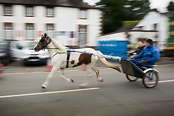 © Licensed to London News Pictures. 09/06/2017. Appleby UK. The Appleby horse fair is taking place in the village of Appleby, the annual event dates back to the 18th century & see's travellers wash their horses in the River Eden. Photo credit: Andrew McCaren/LNP